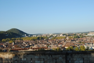 Morning view over Besancon from our parking