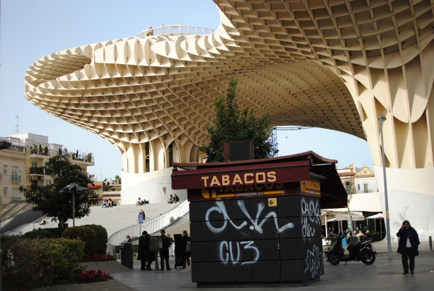 The Metropol Parasol with a market and food stalls